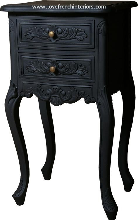 Louis French Bedside Table in Noir Black