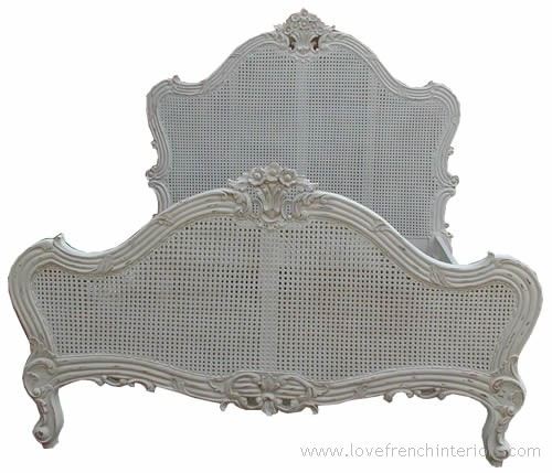 Louis Rattan Single Panel French Bed 5' Kingsize