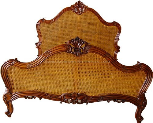 Louis Rattan Single Panel French Bed Kingsize