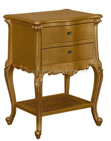 Louis Two Drawer Bedside Table in Gold Leaf