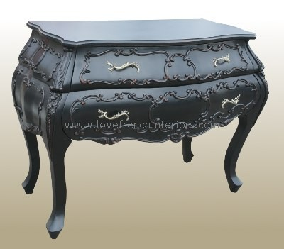 Noir Black Bow Fronted Ornate French Chest
