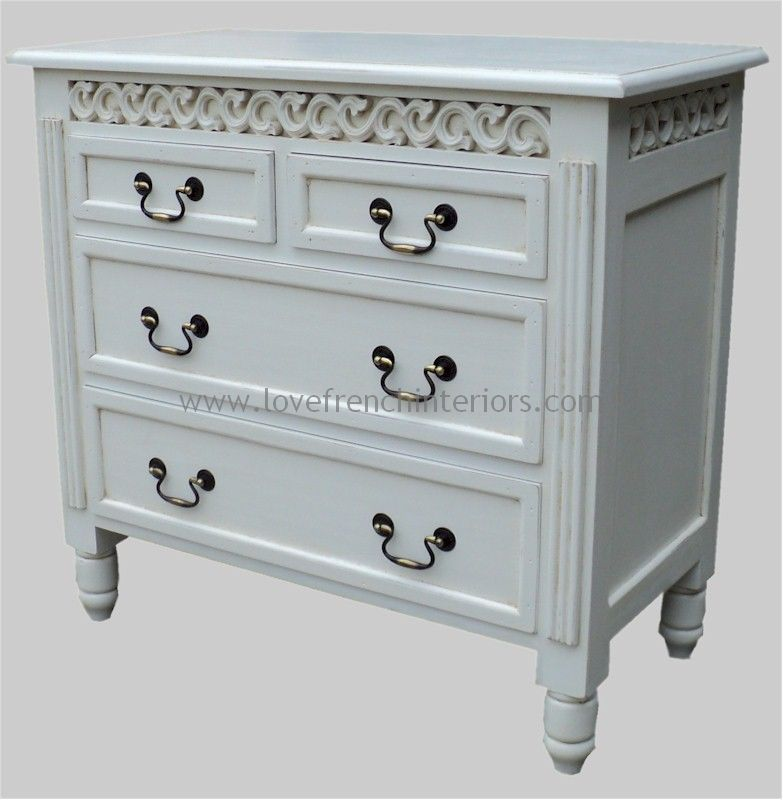 Rochelle 4 Drawer Fret Work French Chest in your choice of colour