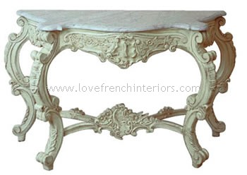 Rococo French Console with Marble Top