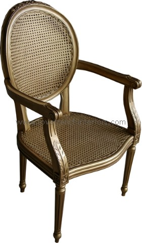 Salon or Carver Chair with Rattan in Antique Gold