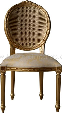 Salon or Dining Chair with Rattan in Antique Gold