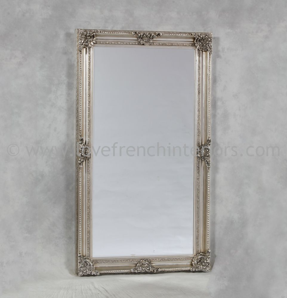 Silver Rectangular Classic Framed Large Mirror