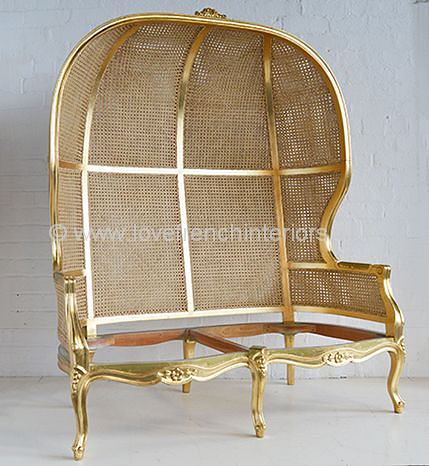 Two Seat French Porters Chair with Rattan