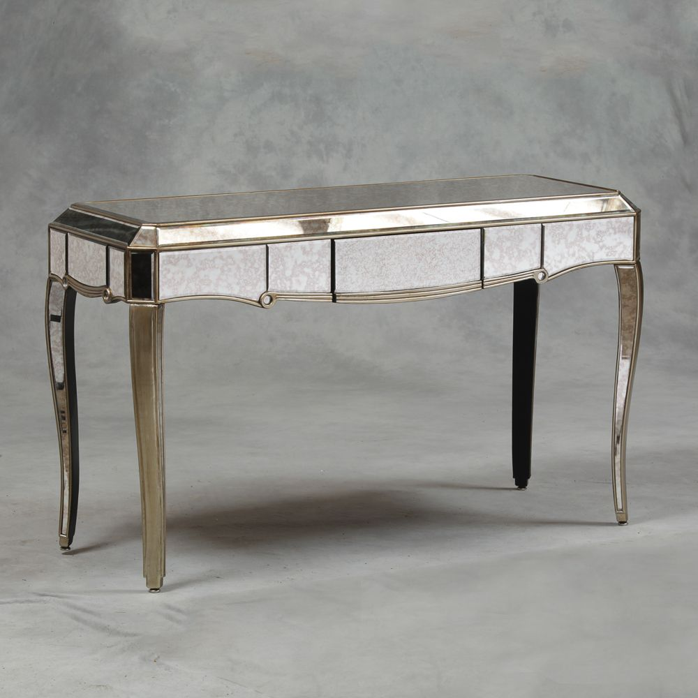 Venetian Antique Mirrored Silver Edged Console Table
