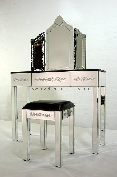 Dressing Table With Mirror And Stool: Venetian Mirrored Dressing Table With Triple Mirror & Stool